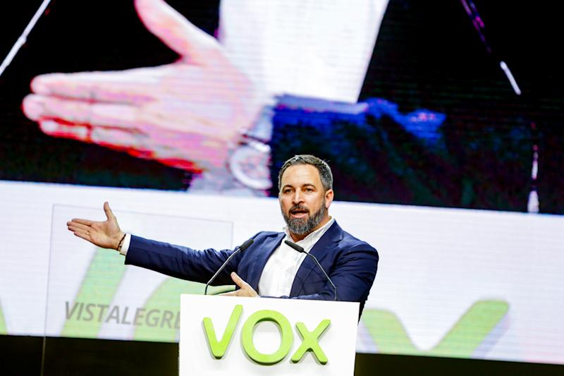 MADRID, SPAIN - MARCH 08: The president of VOX, Santiago Abascal, is seen at the General Aseembly of the party celebrated in Vistalegre Palace on March 08, 2020 in Madrid, Spain. (Photo by Ricardo Rubio/Europa Press via Getty Images) (Photo by Europa Press News/Europa Press via Getty Images)