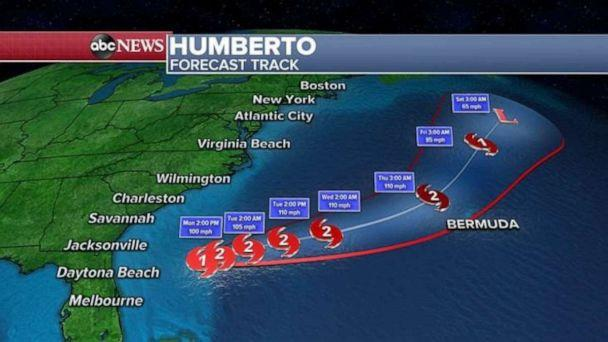 PHOTO: Hurricane Humberto's path is veering away from the Atlantic coast and moving back out to sea. (ABC News)