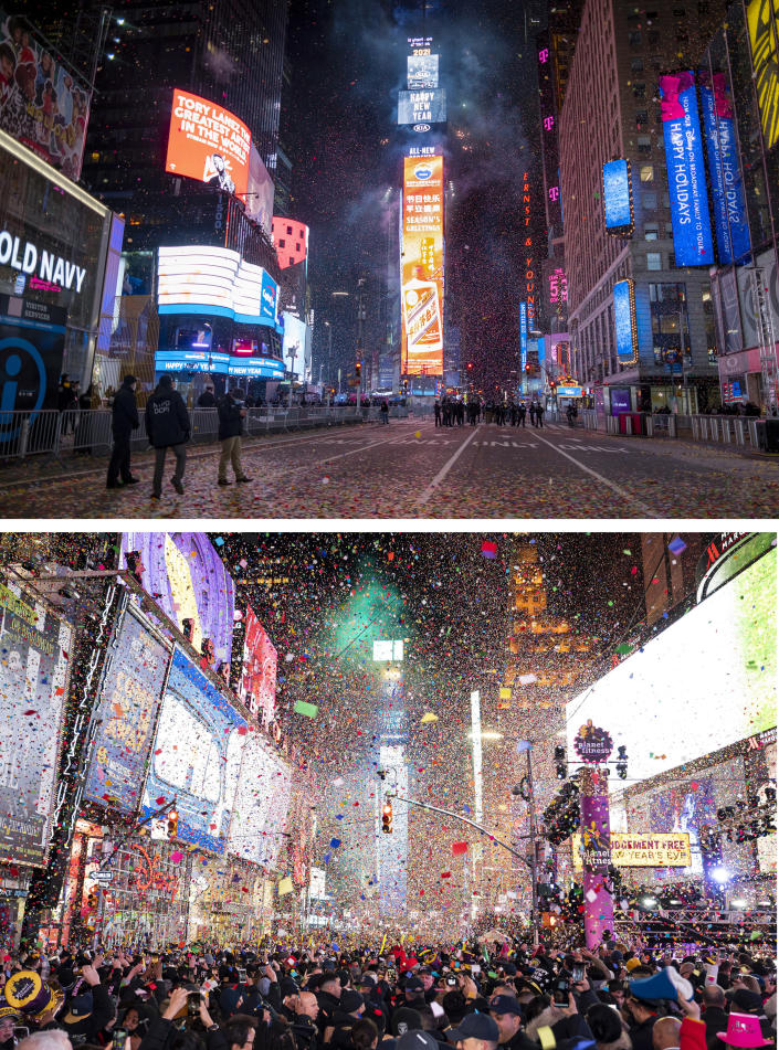 A combo of images shows an almost empty Times Square, top, in the early hours of Friday, Jan. 1, 2021 in New York and the same location taken on Jan. 1, 2020 packed with revelers celebrating the New Year. As the world says goodbye to 2020, there will be countdowns and live performances, but no massed jubilant crowds in traditional gathering spots like the Champs Elysees in Paris and New York City's Times Square this New Year's Eve. The virus that ruined 2020 has led to cancelations of most fireworks displays and public events in favor of made-for-TV-only moments in party spots like London and Rio de Janeiro. (AP Photo/Craig Rutte, Ben Hider)