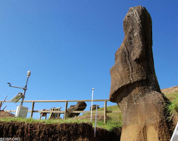 Environmental monitoring of one of the statues is set up in Quarry 2.  For more information visit the Easter Island Statue Project