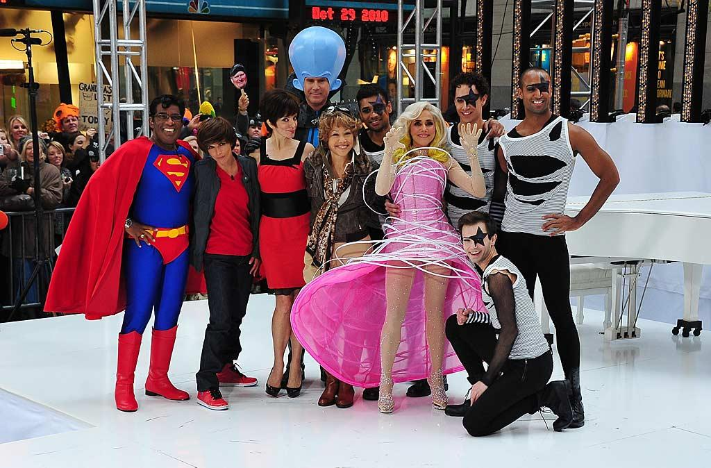 """Donning costumes from their new kids flick """"Megamind,"""" Tina Fey and Will Ferrell found themselves in the company of a few other interesting characters -- including Superman, Justin Bieber, and Lady Gaga -- when they visited the """"Today"""" show Friday morning. Brian Killian/<a href=""""http://www.wireimage.com"""" target=""""new"""">WireImage.com</a> - October 29, 2010"""