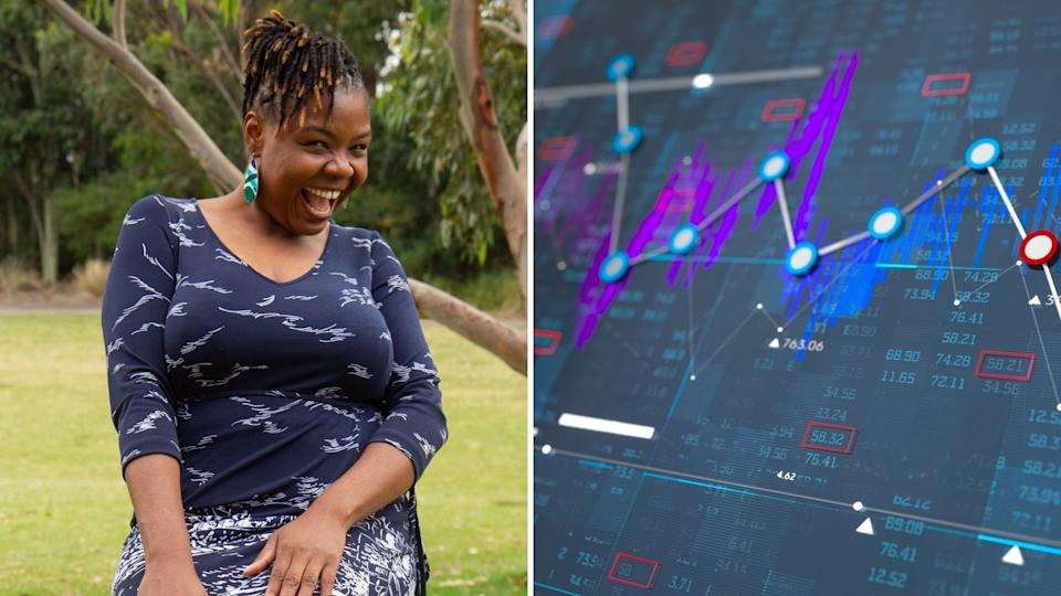 Wadzanai Nenzou smiles while sitting in a park, graphic showing stock prices.