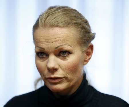"""File photo of Kathrin Oertel, co-leader of anti-immigration group PEGIDA, a German abbreviation for """"Patriotic Europeans against the Islamization of the West"""", during a Reuters interview in Dresden January 12, 2015. REUTERS/Fabrizio Bensch"""