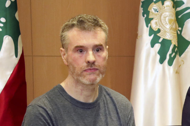 This handout photo by the Lebanese General Security Directorate, shows Canadian citizen Kristian Lee Baxter, during a press conference in Beirut, Lebanon, Friday, Aug 9, 2019. Baxter held in Syrian prisons since last year and freed after Lebanese mediation said Friday he had no idea if anyone knew he was still alive.  The Lebanese general who mediated his release said Baxter was heading home. It was not clear when Baxter was released from Syria. (The Lebanese General Security Directorate via AP)