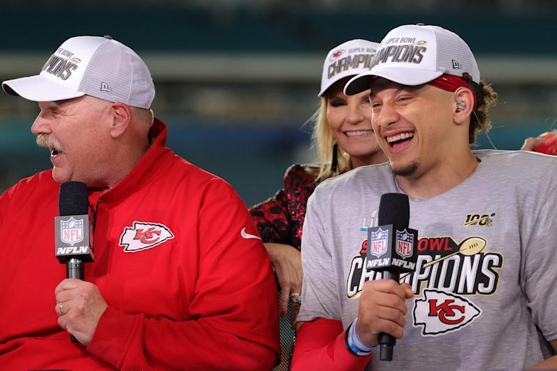 MIAMI, FLORIDA - FEBRUARY 02: Patrick Mahomes #15 of the Kansas City Chiefs talks after defeating San Francisco 49ers by 31 - 20 in Super Bowl LIV at Hard Rock Stadium on February 02, 2020 in Miami, Florida. (Photo by Tom Pennington/Getty Images)