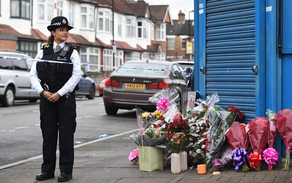 Floral tributes left on Chalgrove Road, Tottenham, north London, where a 17-year-old girl has died