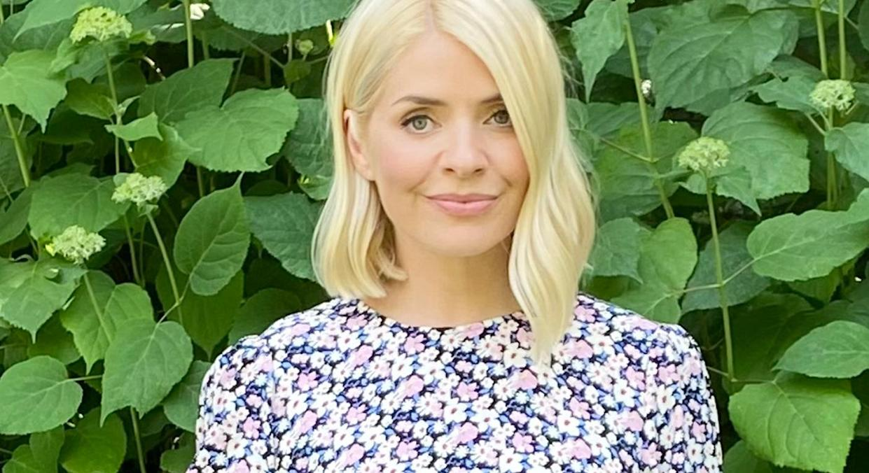 Holly Willoughby wears floral midaxi dress from M&S, which swiftly sold out back in March, but is now back in stock. (Marks and Spencer)