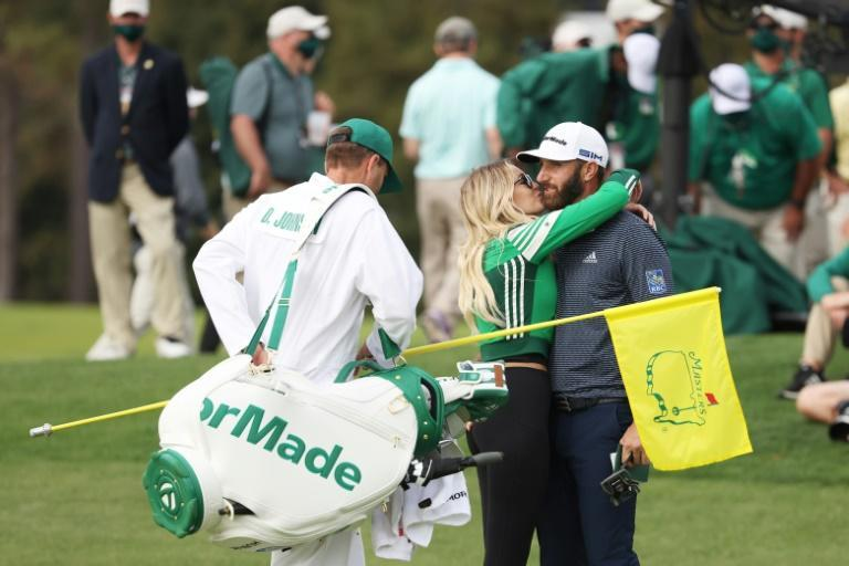 Dustin Johnson kissed fiancee Paulina Gretzky after winning last year's Masters for his second career major title