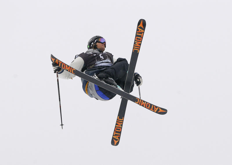 Norway's Andreas Haatveit flies off a jump during the World Cup U.S. Grand Prix slopestyle freestyle skiing finals, Saturday, Dec. 21, 2013, in Frisco, Colo. (AP Photo/Julie Jacobson)