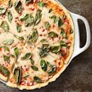 <p>You won't believe how quick and easy it is to make this healthy pizza. Thanks to a two-ingredient dough that combines self-rising flour and Greek yogurt, there is no need for a rise time. Just roll, top and bake, and you'll have a delicious dinner on the table in under half an hour.</p>
