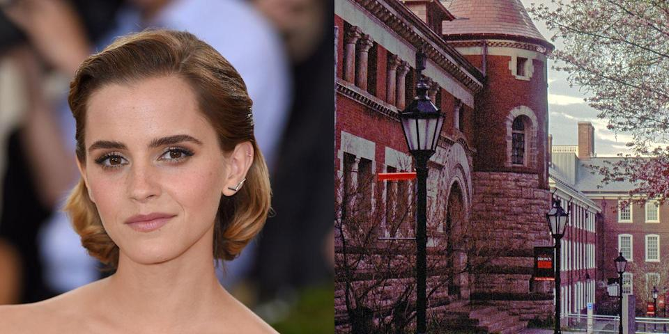 """<p><strong>Brown University</strong></p><p>Watson received her Bachelor's degree in English literature from Brown University. Unlike some celebrities who became famous post-college, Watson had been famous (very famous) for years. In <a href=""""http://www.nydailynews.com/entertainment/gossip/emma-watson-college-life-proves-magical-actress-leaves-brown-article-1.113838"""" rel=""""nofollow noopener"""" target=""""_blank"""" data-ylk=""""slk:an interview with NY Daily News"""" class=""""link rapid-noclick-resp"""">an interview with <em>NY Daily News</em></a>, a source stated that sometimes Watson's classmates """"would respond [to her answer] with a quote from 'Harry Potter.'"""" The most popular choice was """"Three points for Gryffindor.""""</p><p>""""I was in denial,"""" Watson said in <a href=""""http://www.eonline.com/news/545087/emma-watson-graduates-from-brown-university-see-the-star-in-her-cap-and-gown"""" rel=""""nofollow noopener"""" target=""""_blank"""" data-ylk=""""slk:an E! News interview"""" class=""""link rapid-noclick-resp"""">an <em>E! News</em> interview</a>. """"I wanted to pretend I wasn't as famous as I was. I was trying to seek out normality, but I kind of have to accept who I am, the position I'm in and what happened.""""</p>"""