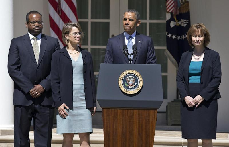 President Barack Obama pauses as he speaks in the Rose Garden of the White House in Washington, Tuesday, June 4, 2013, where he announced the nominations of, from left, Robert Wilkins, Cornelia Pillard, and Patricia Ann Millet, to the U.S. Court of Appeals for the District of Columbia Circuit. (AP Photo/Manuel Balce Ceneta)