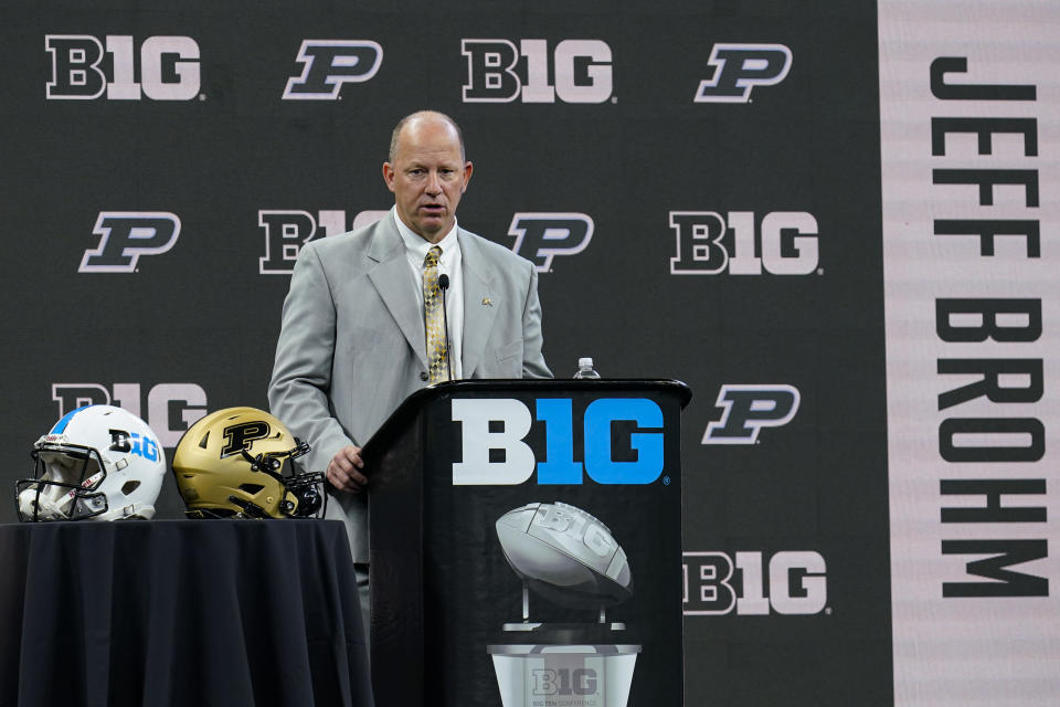 Purdue head coach Jeff Brohm talks to reporters during an NCAA college football news conference at the Big Ten Conference media days, at Lucas Oil Stadium in Indianapolis, Friday, July 23, 2021. (AP Photo/Michael Conroy)