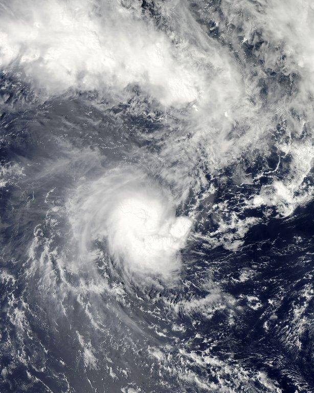 This NASA Aqua satellite image shows Tropical Cyclone Evan as it passes over Samoa on December 13, 2012