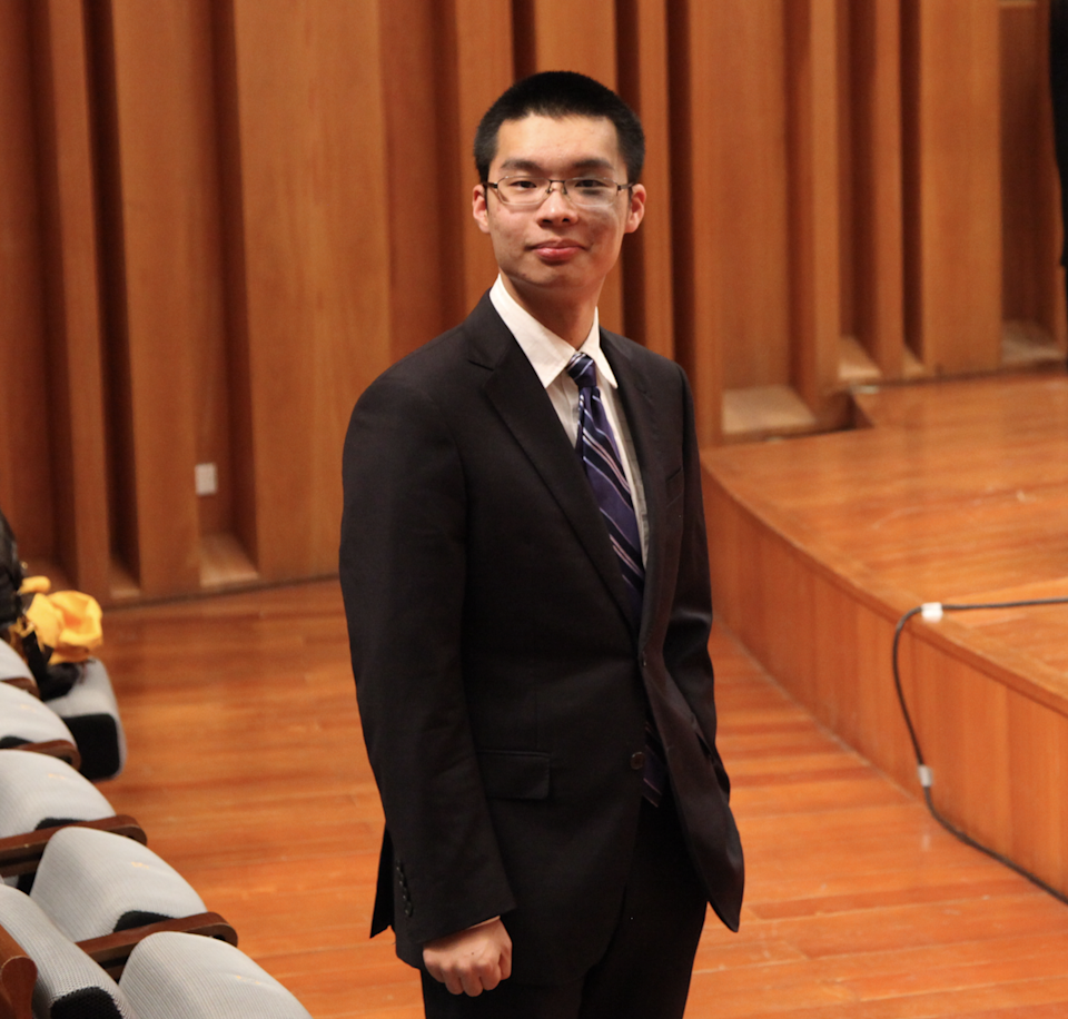 Sam Wu won second prize in the William Baker Choral Foundation's composition contest.
