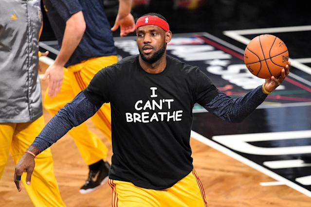 "LeBron James was among the NBA players who wore ""I Can't Breathe"" T-shirts in protest of police brutality in 2014. (Rich Kane/Icon Sportswire via Getty Images)"
