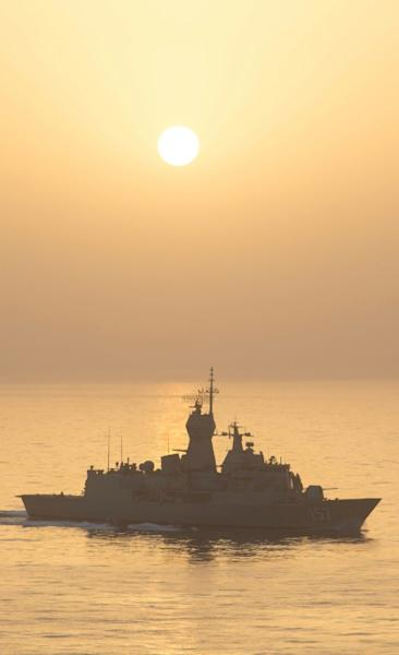 The Australian frigate, with a crew of some 170, will not be deployed to the joint operation until January (AFP Photo/ABIS RICHARD CORDELL)