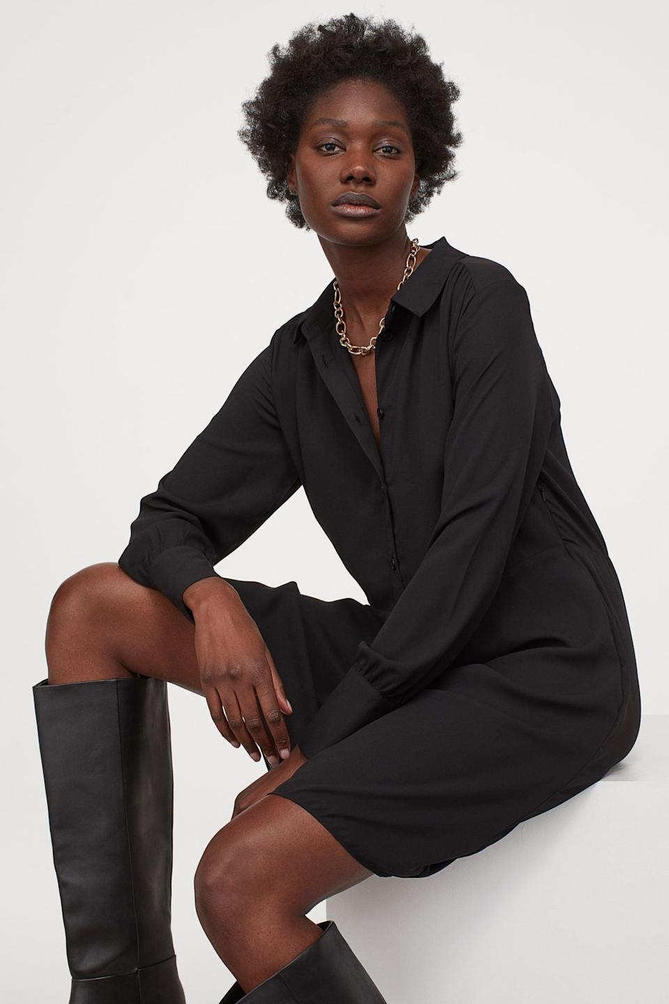 <p>Wear this <span>H&amp;M Shirt Dress</span> ($35) under a light jacket with low heels for a warm evening out.</p>