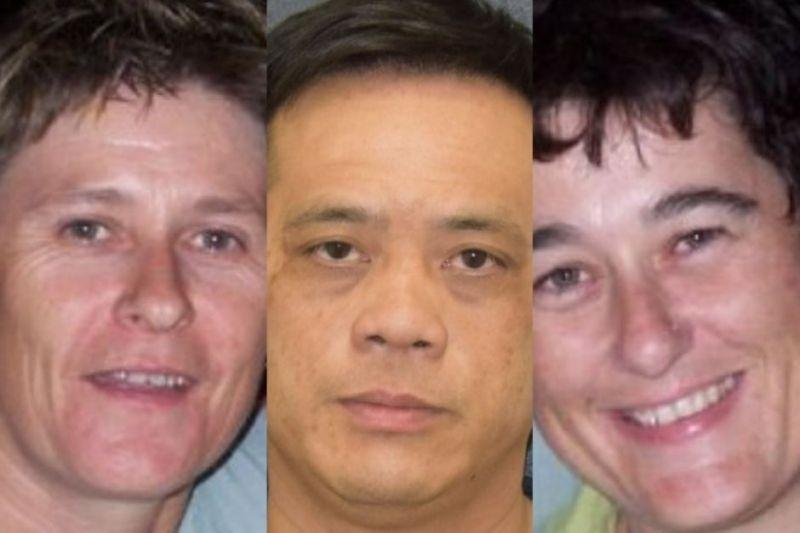 Tamra McBeath-Riley (left) and Phu Tran (middle) have been found alive, while Claire Hockridge (right) hasn't been seen since November 19. Source: NT Police