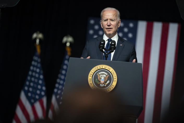 """FILE - In this June 1, 2021, file photo, President Joe Biden speaks at the Greenwood Cultural Center in Tulsa, Okla. On Friday, June 11, The Associated Press reported on stories circulating online incorrectly claiming Biden once said he was about to """"swoop down with Special Forces"""" and """"gather up every gun in America,"""" and now his administration is advertising giving out guns to people who get vaccinated for COVID-19. (AP Photo/Evan Vucci, File)"""