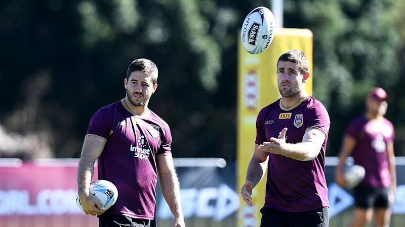 Maroons stars Ben Hunt and Andrew McCullough.