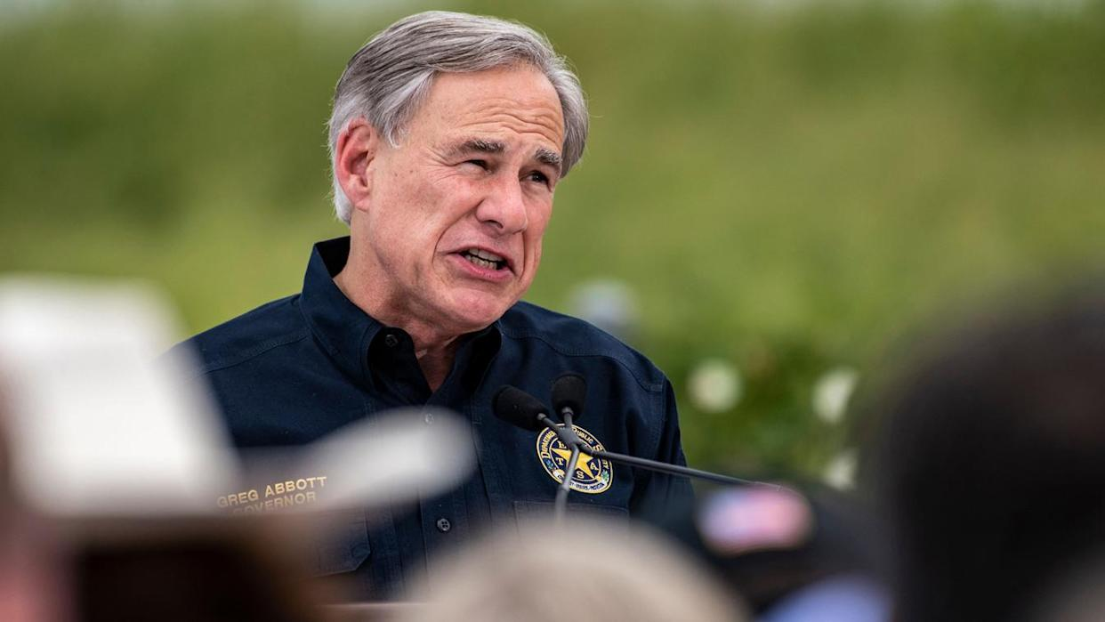Texas Gov. Greg Abbott speaks during a visit to the border wall near Pharr, Texas, on June 30. (Sergio Flores/AFP via Getty Images)