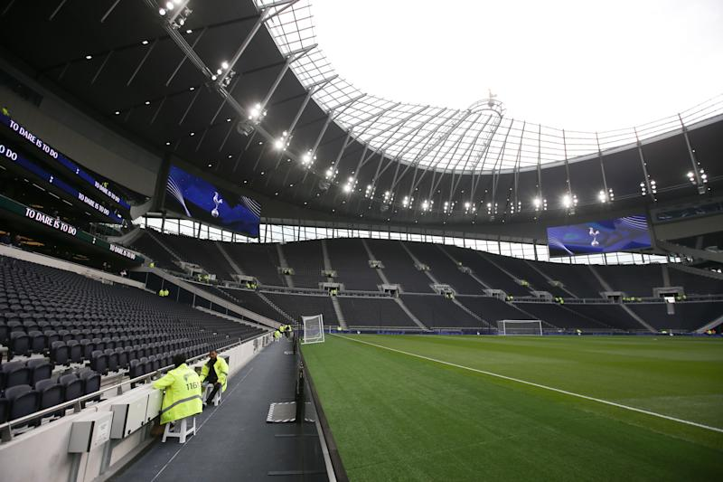 A picture shows a general view of the interior of the new Tottenham Hotspur Stadium ahead of the Legends football match between Spurs Legends and Inter Forever, the second and final test event for the new stadium in London, on March 30, 2019. - Tottenham coach Mauricio Pochettino believes the club's state-of-the-art new stadium has been worth waiting for after months of delays. Spurs trained at the 62,000 capacity venue for the first time on March 28 and will play for the first time there on April 3 against Crystal Palace. (Photo by Daniel LEAL-OLIVAS / AFP) (Photo credit should read DANIEL LEAL-OLIVAS/AFP via Getty Images)