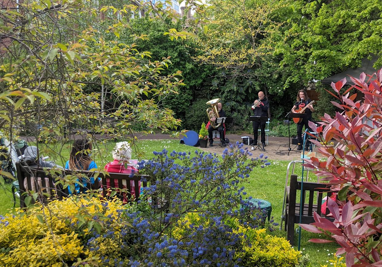 Albert's Band performed to residents in the garden at Compton Lodge care home in Swiss Cottage, north-west London (Compton Lodge/Central & Cecil/PA)