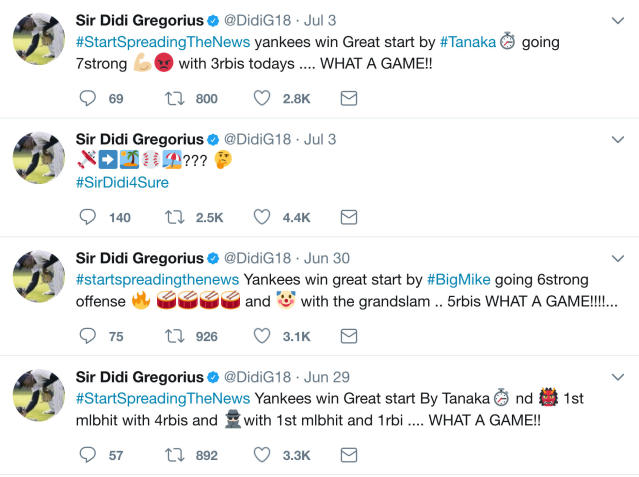 <p> In this image from Twitter, New York Yankees Didi Gregorius creatively used emojis to recap Yankees wins on his Twitter feed. A franchise known for the Babe, the Boss and the Iron Horse has a new set of nicknames. Clown face (Brett Gardner) is in left, bow and arrow (Jacoby Ellsbury) competes for time in center and male judge (medium skin tone) is stationed in right, Aaron Judge, if you haven't figured that out. These monikers are all bestowed by Gregorius. After wins, the shortstop tweets highlights and praise using emojis for teammates in his own digital hieroglyphs. (Twitter via AP) </p>