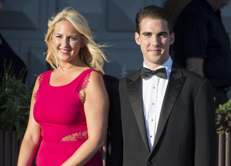 STOCKHOLM, SWEDEN - JUNE 07: Princess Theodora of Greece and her brother Prince Philippos of Greece attend a private dinner on the eve of the wedding of Princess Madeleine and Christopher O'Neill hosted by King Carl XVI Gustaf and Queen Silvia at The Grand Hotel on June 7, 2013 in Stockholm, Sweden. (Photo by Mark Cuthbert/Julian Parker/UK Press via Getty Images)