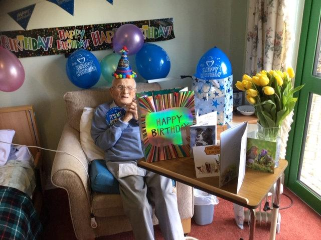 Reg Lewis celebrating his 107th birthday (Picture: SWNS)