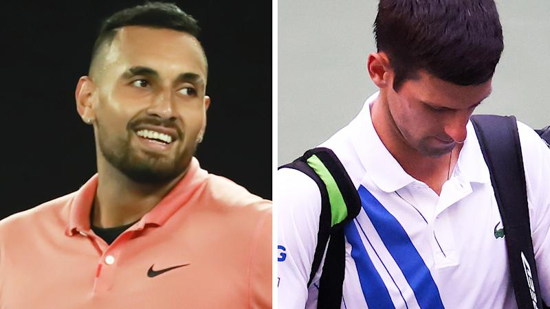 A 50-50 split image shows Nick Kyrgios on the left and Novak Djokovic on the right.