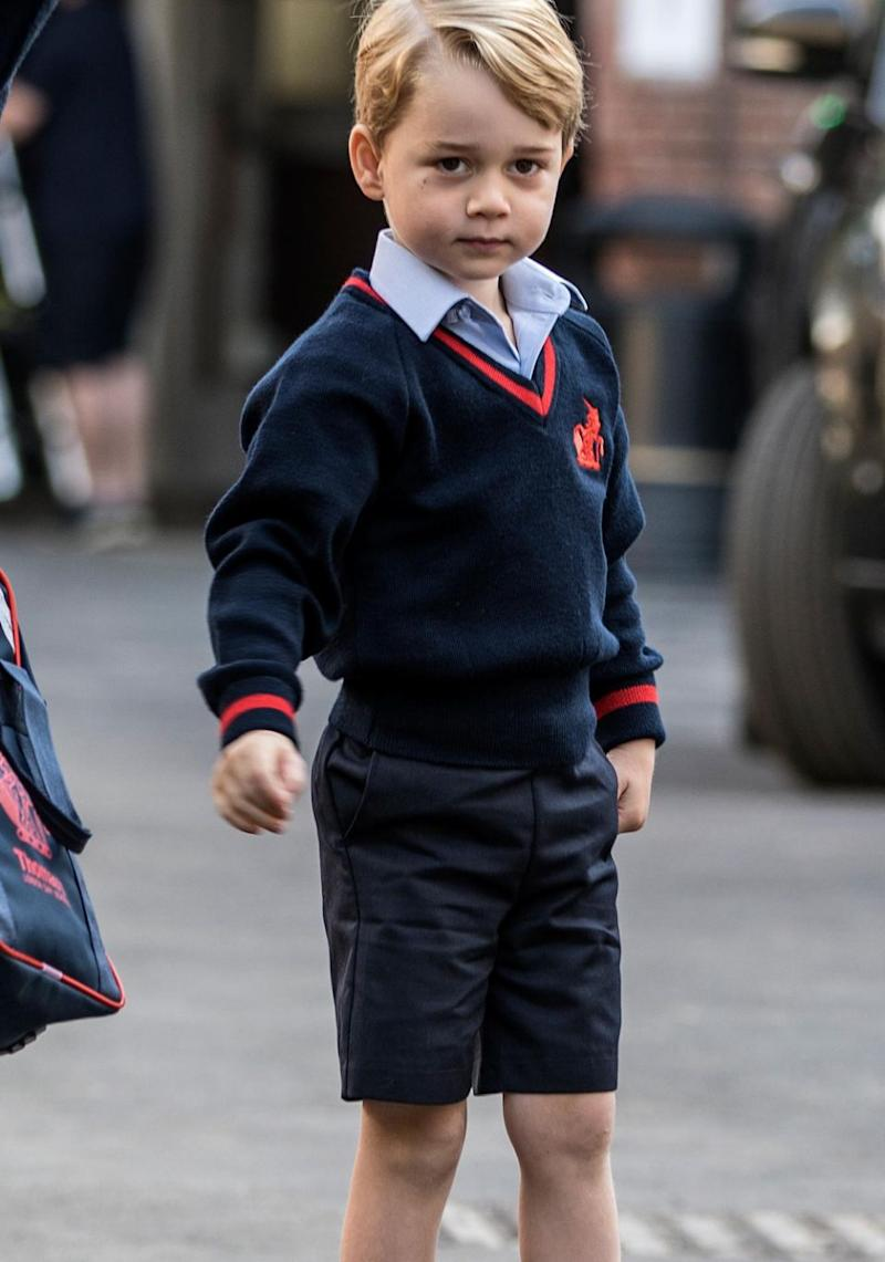 George fit right in at school in his school uniform looking very cute. Source: Getty