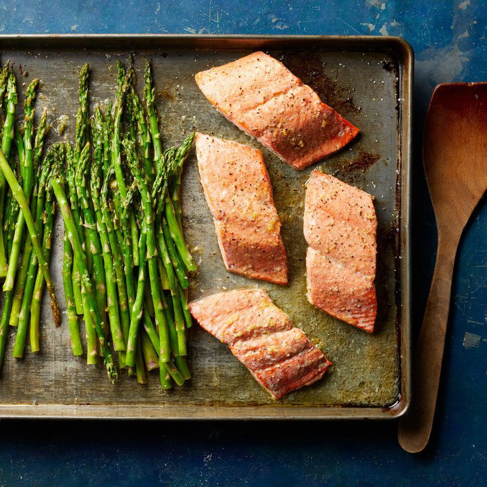 <p>Looking for a recipe to help you eat more heart-healthy fish and veggies? Add this salmon and asparagus dinner to your rotation. Not only is it healthy and delicious, this sheet-pan dinner is also easy to make and a breeze to clean up.</p>