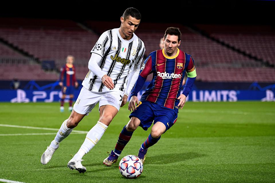 CAMP NOU, BARCELONA, SPAIN - 2020/12/08: Cristiano Ronaldo (L) of Juventus FC is challenged by Lionel Messi of FC Barcelona during the UEFA Champions League Group G football match between FC Barcelona and Juventus. Juventus FC won 3-0 over FC Barcelona. (Photo by Nicolò Campo/LightRocket via Getty Images) (Photo: Nicolò Campo via Getty Images)
