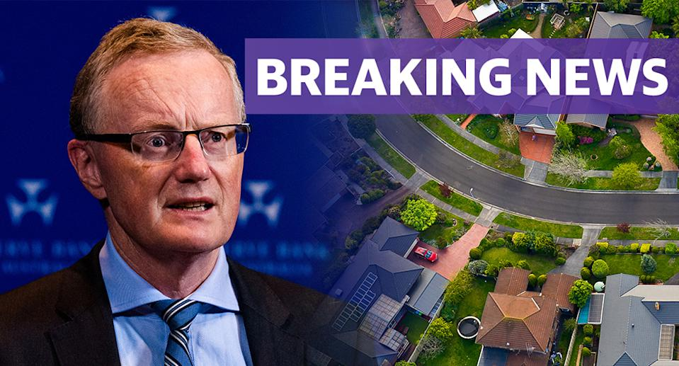 RBA governor Philip Lowe and an aerial view on an Australian suburb.