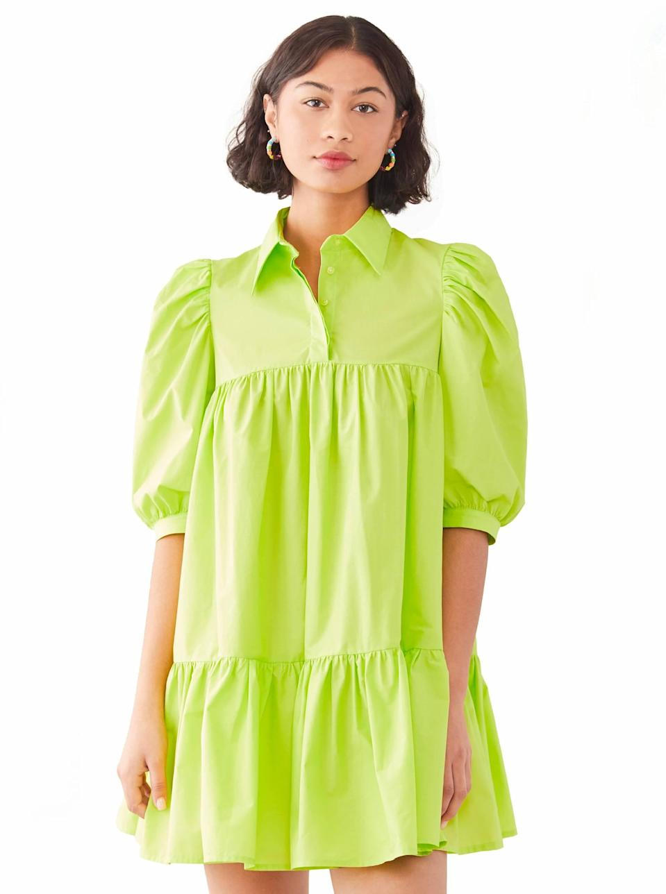 """Nothing like a little lime green to infuse your wardrobe with a dose of vitality. Pair this breezy mini dress with strappy block heels for a no-fail late lunch look. $295, Shopbop. <a href=""""https://www.shopbop.com/short-sleeve-puff-shirt-dress/vp/v=1/1591629824.htm?"""" rel=""""nofollow noopener"""" target=""""_blank"""" data-ylk=""""slk:Get it now!"""" class=""""link rapid-noclick-resp"""">Get it now!</a>"""