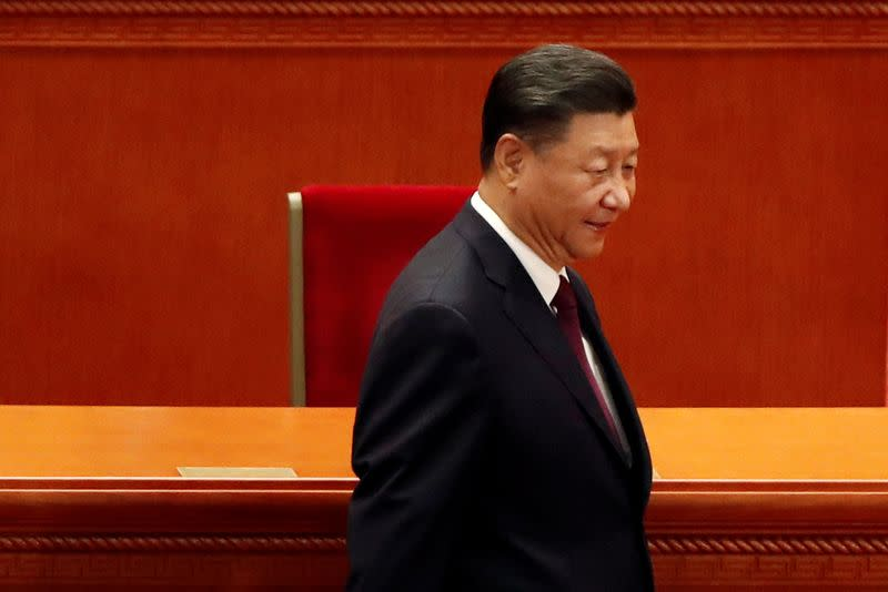 Chinese President Xi Jinping arrives for a meeting in Beijing
