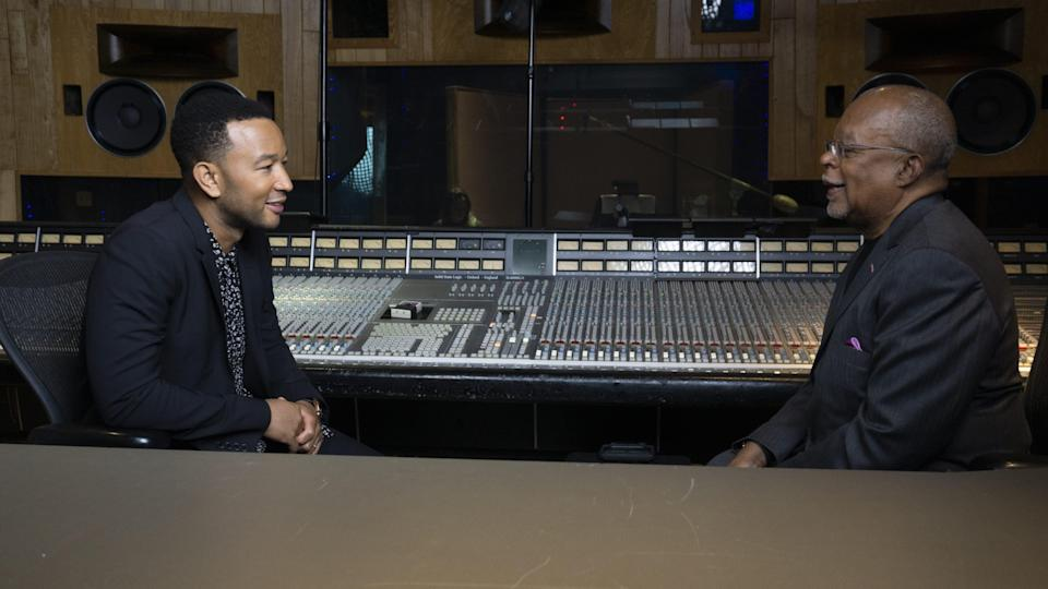 "Henry Louis Gates Jr. talks to music star John Legend, a fellow executive producer on Gates' PBS documentary, ""The Black Church: This Is Our Story, This Is Our Song."""
