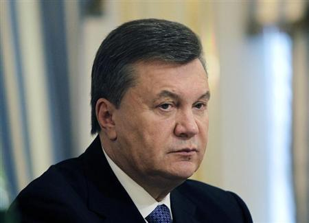 Ukrainian President Yanukovich is seen during his meeting with European Commissioner for Enlargement and European Neighbourhood Policy Fule in Kiev