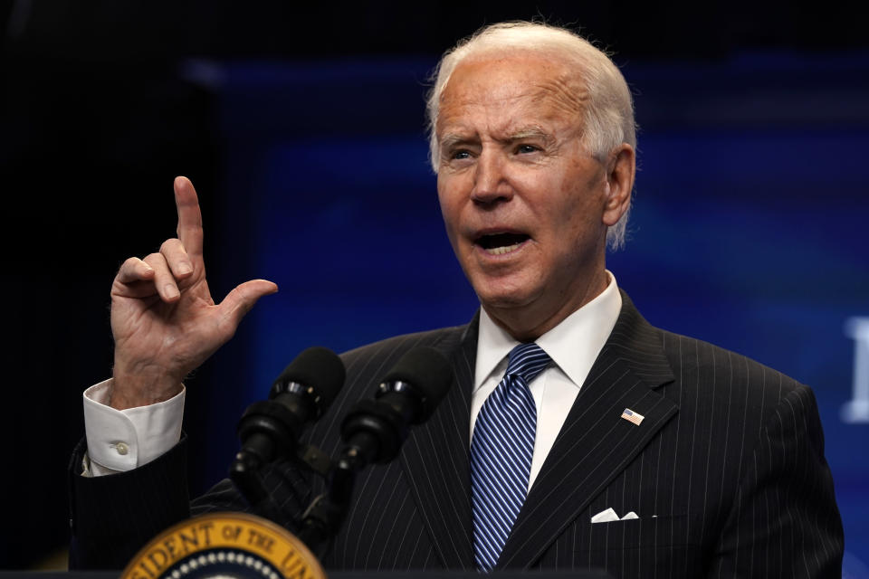 President Joe Biden speaks during an event on American manufacturing, in the South Court Auditorium on the White House complex, Monday, Jan. 25, 2021, in Washington. (AP Photo/Evan Vucci)