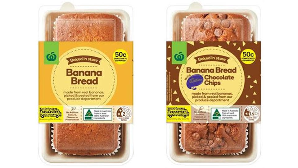 Woolworths OzHarvest Banana Bread in traditional and chocolate chip