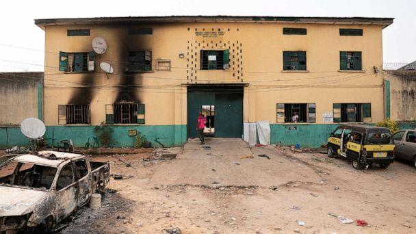 PHOTO: The main gate of the Nigerian Correctional Services facility that was attacked by gunmen, with large numbers of inmates set freed afterwards in Imo State, Nigeria April 5, 2021. (David Dosunmu via Reuters)