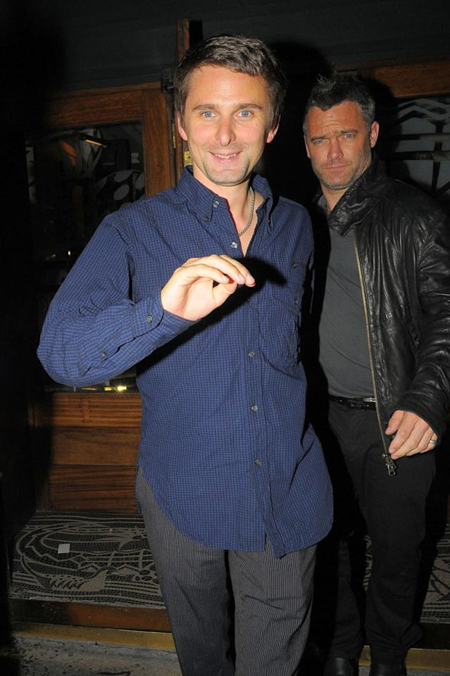 "Still, they <i>are</i> close enough to be meeting their closest friends and family members. He's already been introduced to her mom Goldie Hawn, and the couple spent their UK evening, which also included a stop at the exclusive Groucho Club, with Matthew's Muse bandmate Dominic Howard. Optic Photos/<a href=""http://www.pacificcoastnews.com/"" target=""new"">PacificCoastNews.com</a> - August 31, 2010"