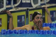 Emma Weyant reacts after winning the Women's 400 Individual Medley during wave 2 of the U.S. Olympic Swim Trials on Sunday, June 13, 2021, in Omaha, Neb. (AP Photo/Jeff Roberson)