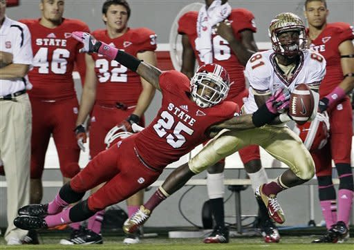 North Carolina State's Dontae Johnson (25) breaks up a pass intended for Florida State's Kenny Shaw (81) during the second half of an NCAA college football game in Raleigh, N.C., Saturday, Oct. 6, 2012. North Carolina State won 17-16. (AP Photo/Gerry Broome)