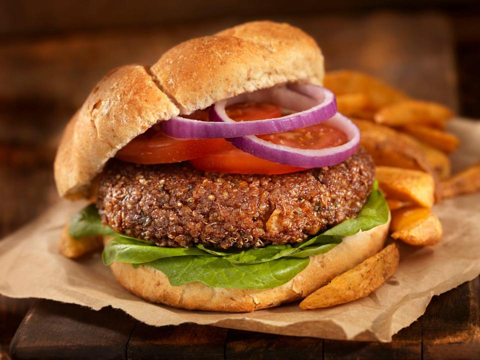A vegetarian burger made from quinoa, chick peas, rolled outs, onions and garlic (Getty Images)