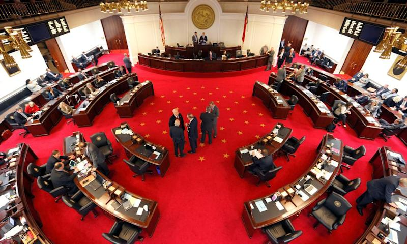 North Carolina's State Senate chamber during a 2016 debate over the state's controversial HB2 law, which limits bathroom access for transgender people.
