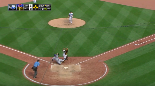 Anthony Rizzo took out Elias Diaz with a questionable slide Monday. (Screengrab via MLB.com)