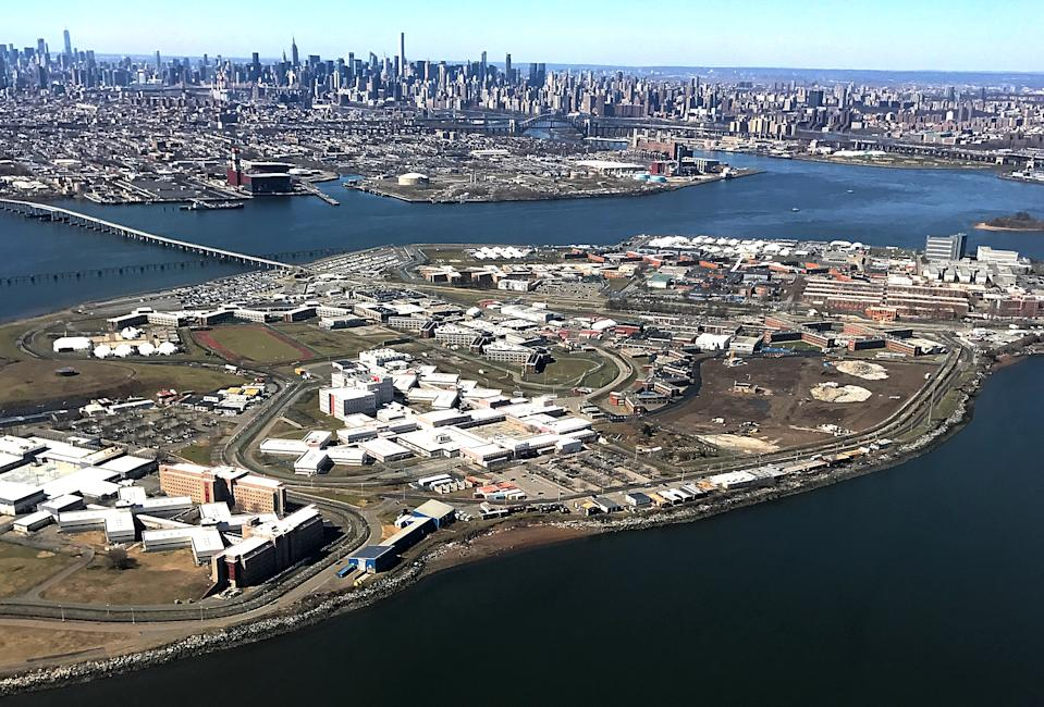 The Rikers Island Prison complex (foreground) is seen from an airplane in the Queens borough of New York City, New York, U.S., April 2, 2017. REUTERS/Mike Segar